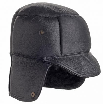 Mens Luxury Leather and Sheepskin Studded Trapper Hat - Folded Down