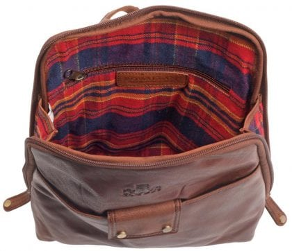 Ladies Wide Opening Luxury Leather Backpack by Rowallan - Open