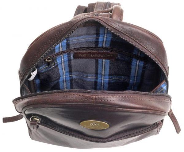 Ladies Round Top Leather Backpack by Rowallan - Inside