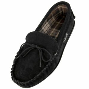 Mens Black Suede Fabric Lined PVC Sole Moccasins