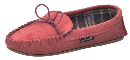 Ladies Pink Suede Fabric Lined PVC Sole Moccasins - Profile