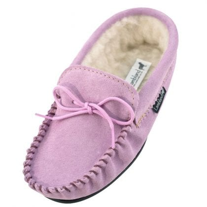 Ladies Lilac Wool Lined PVC Sole Moccasins