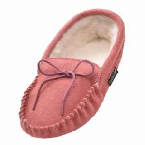 Ladies Pink Wool Lined Suede Sole Moccasins