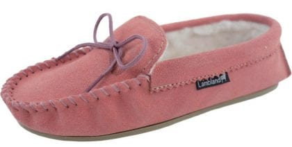 Ladies Pink Wool Lined PVC Sole Moccasins - Profile