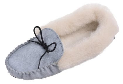 Ladies Fluffy Blue Wool Lined PVC Sole Moccasins - Profile