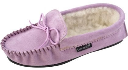 Ladies Lilac Wool Lined PVC Sole Moccasins - Profile