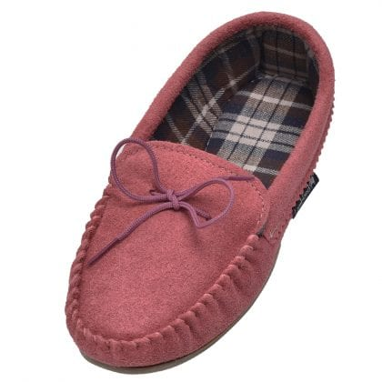 Ladies Pink Suede Fabric Lined PVC Sole Moccasins