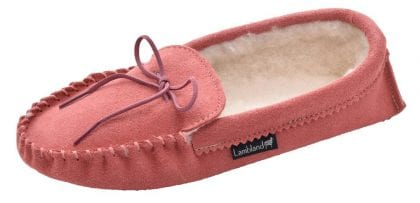 Ladies Pink Wool Lined Suede Sole Moccasins - Profile