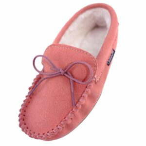 Ladies Pink Wool Lined PVC Sole Moccasins