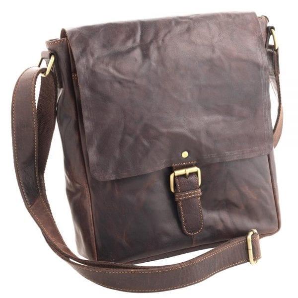 Unisex Vintage Leather Bag by Rowallan in Brown-0