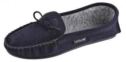 Mens Navy Fleece Lined Moccasins-197569