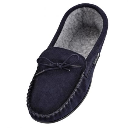 Mens Navy Fleece Lined Moccasins-0