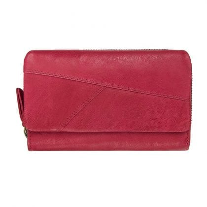 Ladies Luxury Crumble Leather Trifold Purse