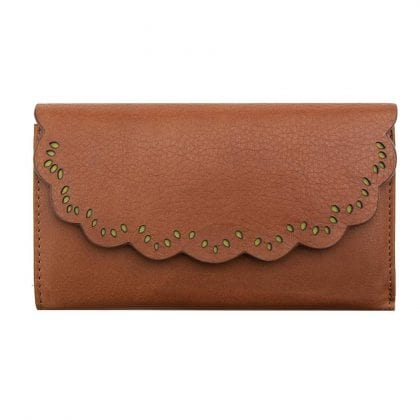 Ladies Luxury Leather Scalloped Purse-0