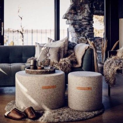 Weaved Soft Wool Pouffe 40cm x 40cm by Shepherd of Sweden