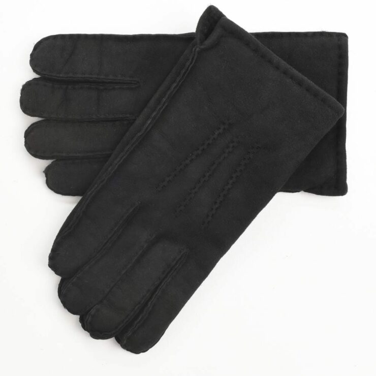 Mens Supreme Quality Classic Sheepskin Gloves in Black Size Large-0