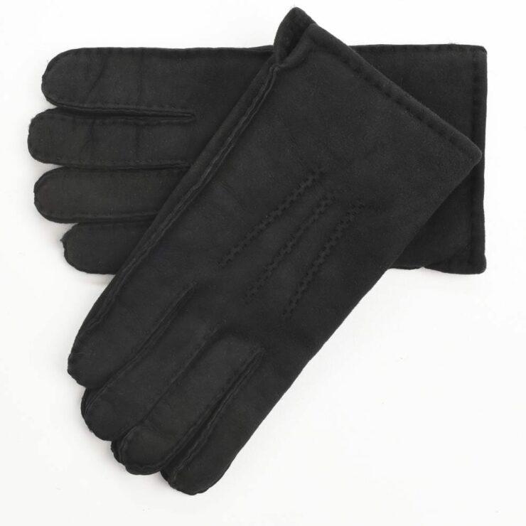 Mens Supreme Quality Classic Sheepskin Gloves in Black Size Medium-0