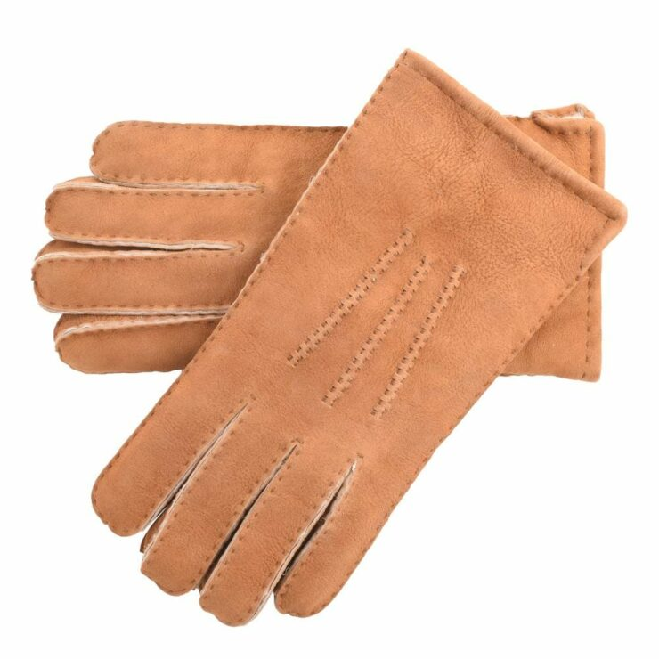 Mens Supreme Quality Classic Sheepskin Gloves in Tan Size Large-0