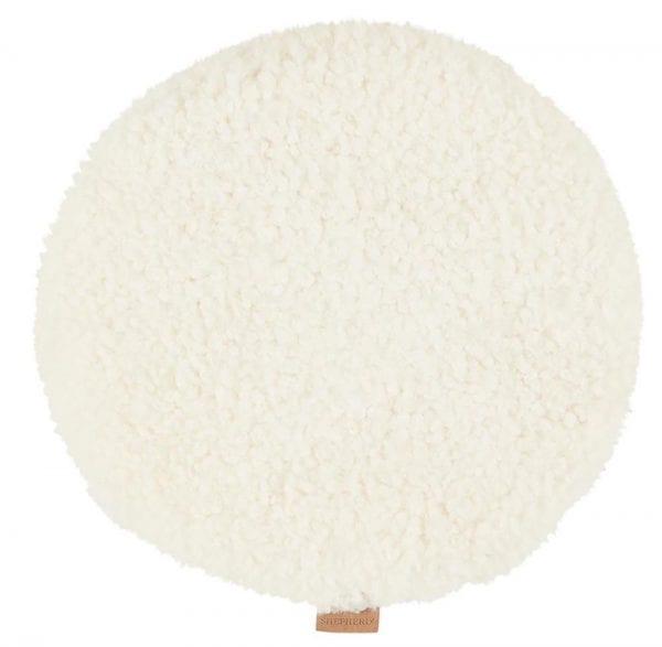 Padded Round Sheepskin Seat Cushion by Shepherd of Sweden in White-0