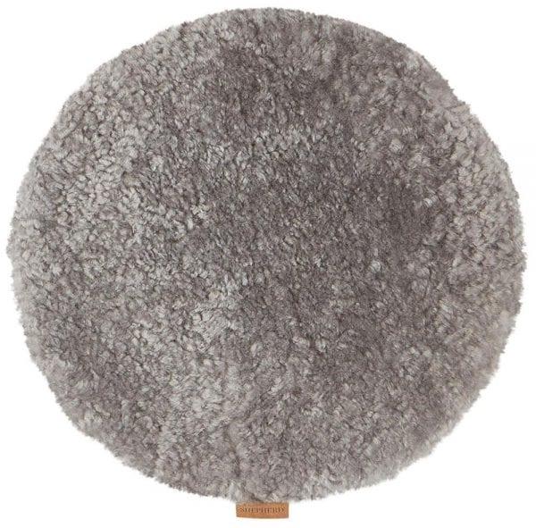 Padded Round Sheepskin Seat Cushion by Shepherd of Sweden in Granite-0