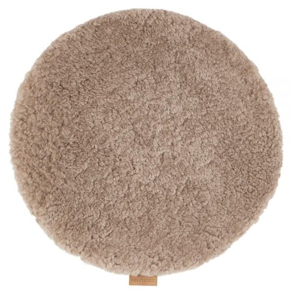 Padded Round Sheepskin Seat Cushion by Shepherd of Sweden in Stone-0