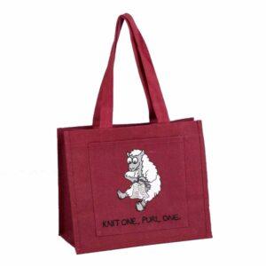 Sheep Design 'Knit One, Purl One' Jute Knitting Bag-0