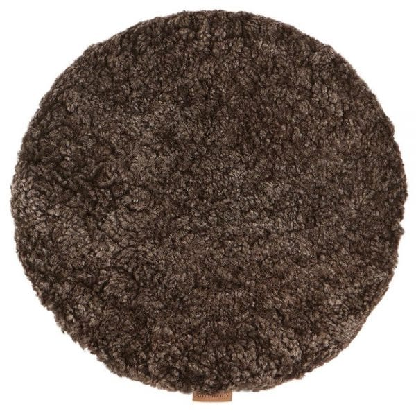 Padded Round Sheepskin Seat Cushion by Shepherd of Sweden in Cappuccino-0