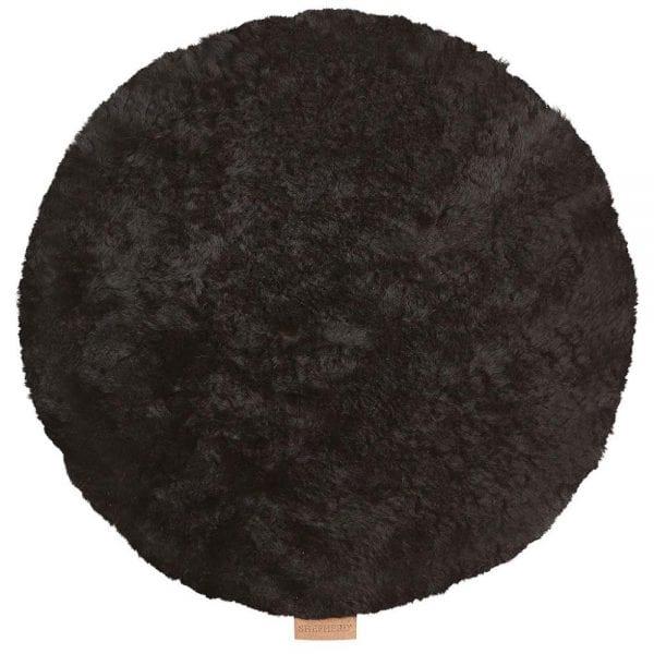 Padded Round Sheepskin Seat Cushion by Shepherd of Sweden in Black-0