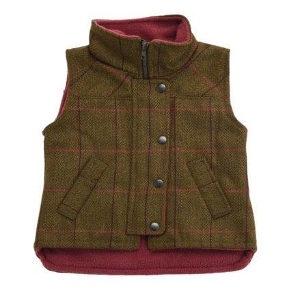 Childrens Tweed Sleeveless Coat Jacket-0