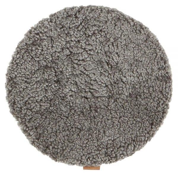 Padded Round Sheepskin Seat Cushion by Shepherd of Sweden in Grey Graphite-0