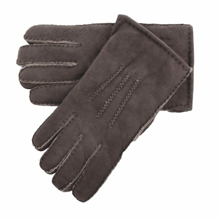 Mens Supreme Quality Classic Sheepskin Gloves in Coffee Brown Size Small-0