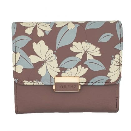 Ladies Grained Faux Leather Compact Floral Purse