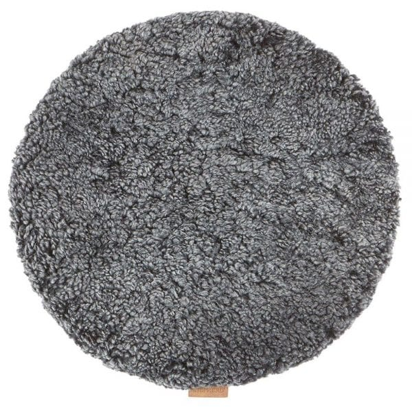 Padded Round Sheepskin Seat Cushion by Shepherd of Sweden in Black Graphite-0
