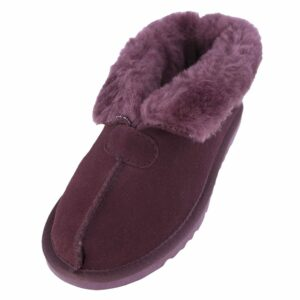 Ladies Sheepskin Lined Bootee Slippers-0